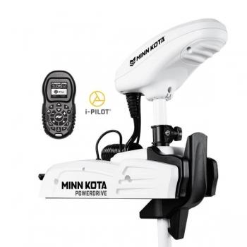 """Электрический кормовой ГПС мотор MINN KOTA Riptide Powerdrive-55 iPilot, 48"""" нога, 12V, Bluetooth, пульт дистанционного управления, белого цвета, морская вода"""