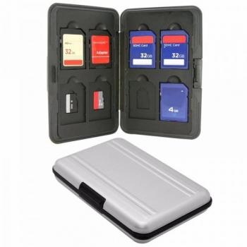Vutlar microSD ja SD mälukaartide hoidmiseks 16-le kaardile, hõbedane