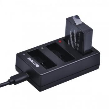 Akulaadija GoPro HERO 5, 6 ja 7 formaadis seikluskaamerate akudele, 3 pesaga