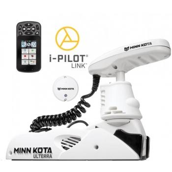 """Электрический кормовой ГПС мотор MINN KOTA Riptide Ulterra-112 iPilot Link, 72"""" нога, 36V, Bluetooth, пульт дистанционного управления, белого цвета, морская вода"""