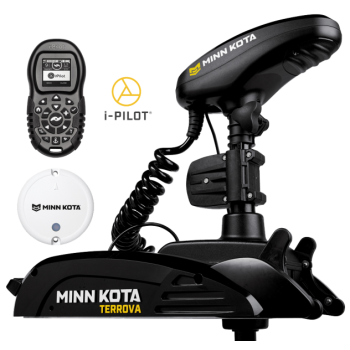 "Electric Bow Mount Remote Control MINN KOTA Terrova-112 iPilot, Mega Down sonar, 60"" leg, 36V, Bluetooth, Wired Foot Control, black, fresh water"