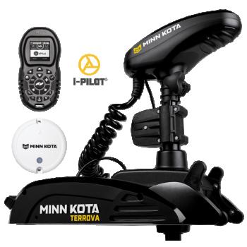 "Electric Bow Mount Remote Control MINN KOTA Terrova-55 iPilot, US2 sonar, 45"" leg, 12V, Bluetooth, Wired Foot Control, black, fresh water"