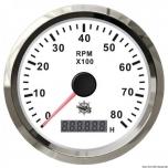 Tahhomeeter, valge, 0-8000 RPM, 96 MM