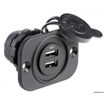 USB POWER SOCKET, DOUBLE, BLACK