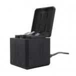 Akulaadija GoPro HERO 5, 6 ja 7 seikluskaamerate akudele, kuubikujuline, 3 pesaga